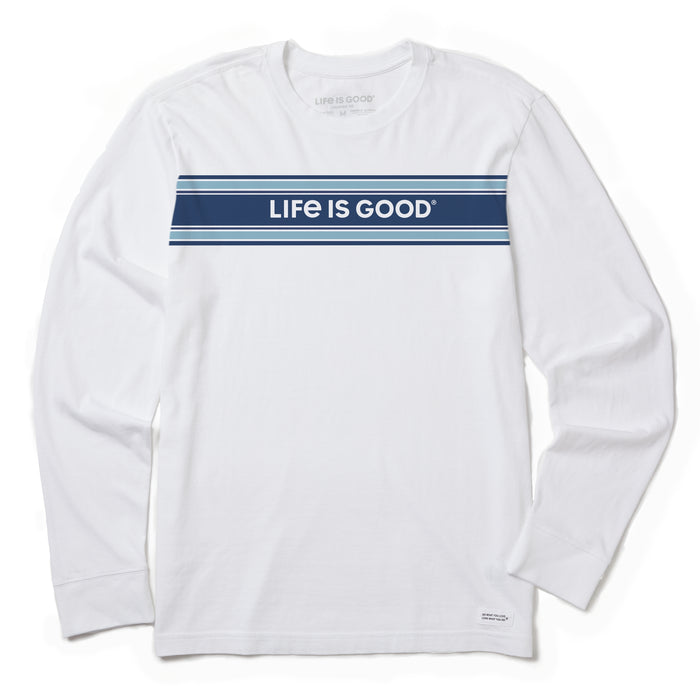 Life is Good Men's Long Sleeve Crusher Tee LIG Stripet, Cloud White