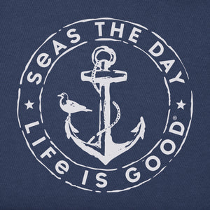 Life is Good Men's Crusher Tee Seas the Day Anch, Darkest Blue