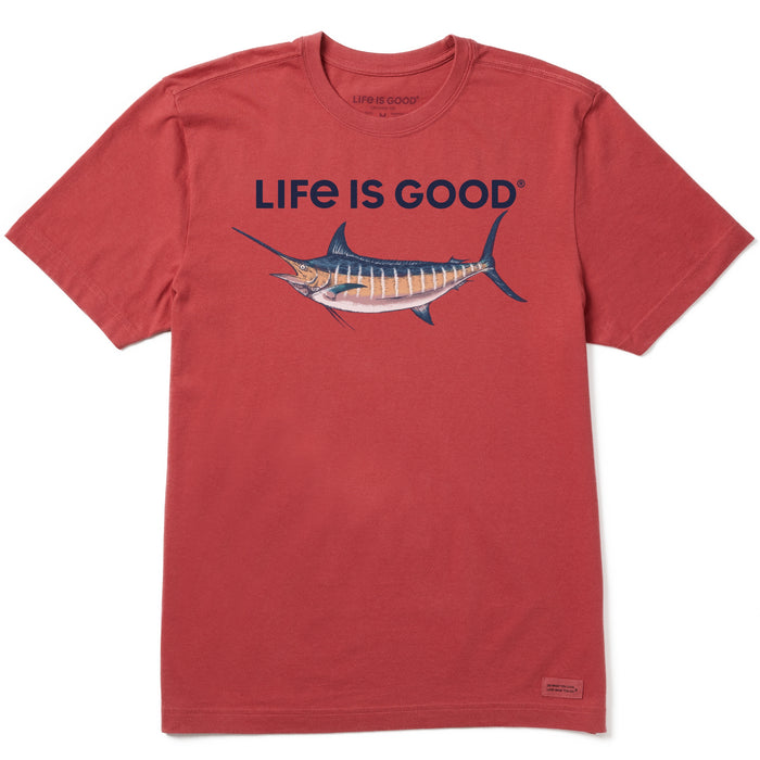 Life is Good Men's Crusher Tee Marlin Rendering, Faded Red