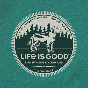 Life is Good Men's Positive Lifestyle Dog Crusher Tee, Spruce Green