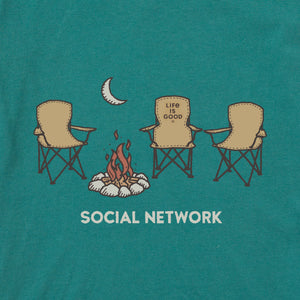 Life is Good Men's Social Network Camp Crusher Tee, Spruce Green