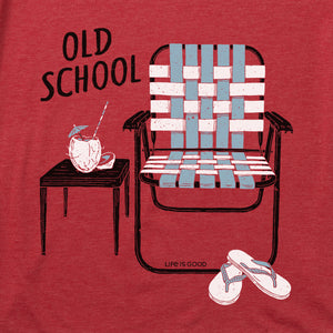 Life is Good Men's Old School Beach Chair Cool Tee, Faded Red