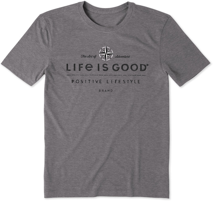 Life is Good Men's Positive Lifestyle Compass Cool Tee, Slate Gray