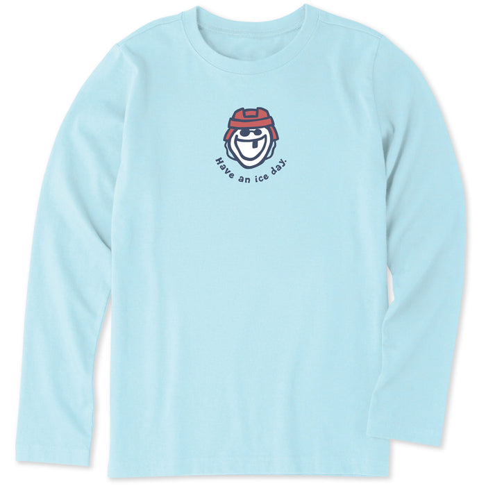 Life is Good Kids Have An Ice Day Vintage Long Sleeve Crusher Tee, Beach Blue