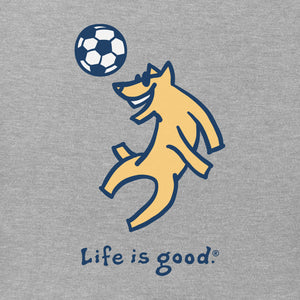 Life is Good Kids Rocket Soccer Vintage Crusher Tee, Heather Gray