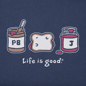 Life is Good Kids Peanut Butter And Jelly Vintage Crusher Tee, Darkest Blue