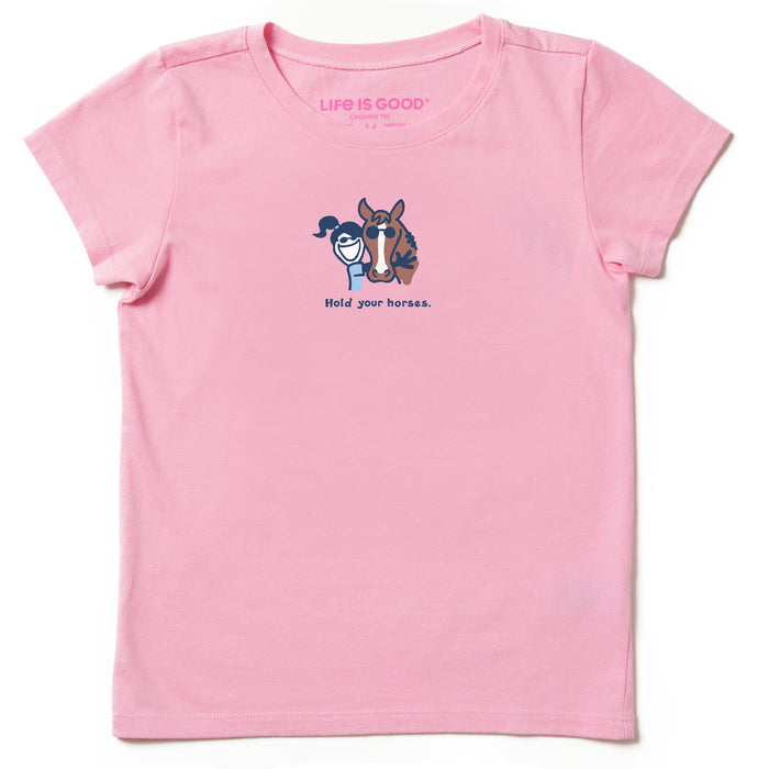 Life is Good. Kids Vintage Crusher Tee Hold Your Horses, Happy Pink