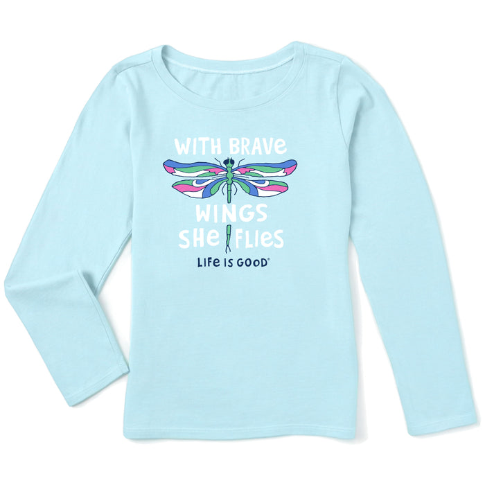 Life is Good Kids Brave Wings Long Sleeve Crusher Tee, Beach Blue
