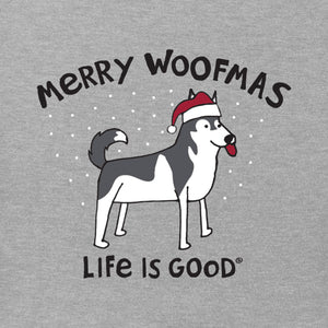 Life is Good Kids Merry Woofmas Long Sleeve Crusher Tee, Heather Gray