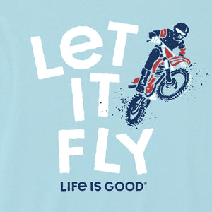 Life is Good Kids Let It Fly Dirt Bike Crusher Tee, Beach Blue