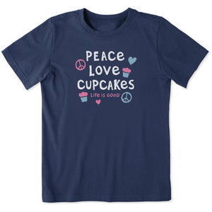 Life is Good. Kids Crusher Tee Peace Love Cupcakes, Darkest Blue