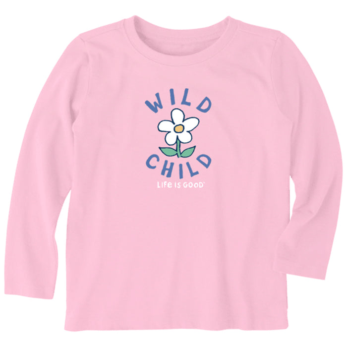 Life is Good Toddler Wild Child Long Sleeve Crusher Tee, Happy Pink
