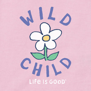 Life is Good. Toddler Long Sleeve Crusher Tee Wild Child Flower, Happy Pink