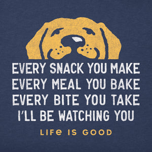 Life is Good. mens crusher tee long sleeve I'll Be Watching You, Darkest Blue