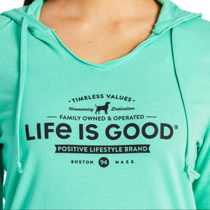 Life is Good Women's Timeless Values Long Sleeve Hooded Smooth Tee, Spearmint Green