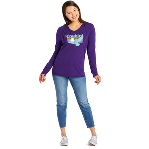 Life is Good Women's Free Bird Long Sleeve Hooded Smooth Tee, Deep Purple