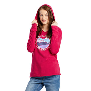 Life is Good Women's Life Isnt Perfect Mountains Long Sleeve Hooded Smooth Tee, Sangria Red