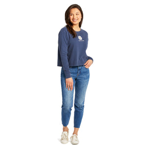 Life is Good Women's LIG Daisy Boxy Long Sleeve Crusher Tee, Darkest Blue