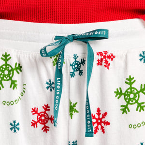 Life is Good Women's Snuggle Up Sle Believe Snowflake Pant, Cloud White