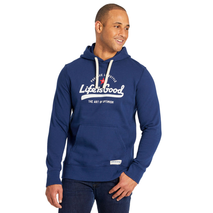 Life is Good Men's Ballyard Positive Lifestyle Simply True Hoodie, Darkest Blue