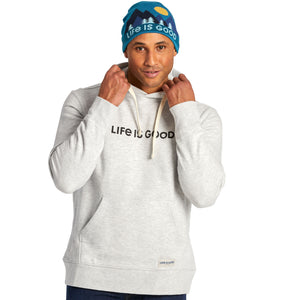 Life is Good Men's LIG Horizontal Simply True Hoodie, Light Heather Gray