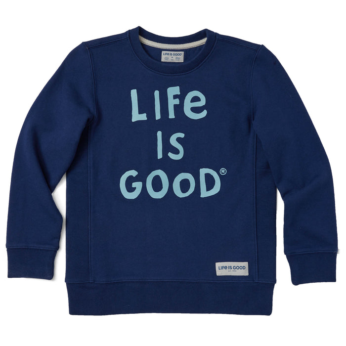 Life is Good Kids LIG Scribble Simply True Crew, Darkest Blue