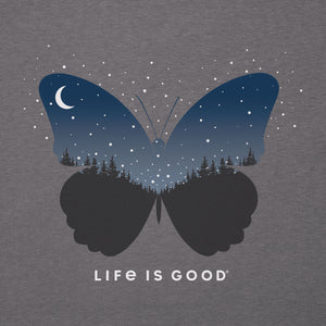 Life is Good Women's Celestial Butterfly Cool Tee, Slate Gray