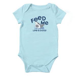 Life is Good Baby Feed Me Crusher Bodysuit, Beach Blue