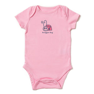 Life is Good Baby Snuggle Bug Vintage Crusher Bodysuit, Happy Pink