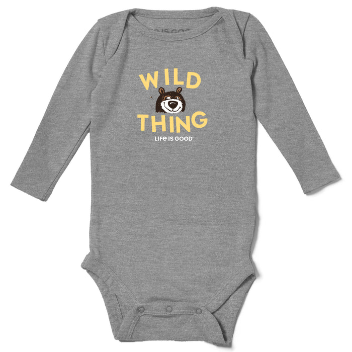 Life is Good. Baby Long Sleeve Crusher Bodysuit Wild Thing, Heather Gray