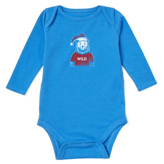 Life is Good Baby Wild Santa Bear Long Sleeve Crusher Bodysuit, Royal Blue