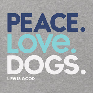 Life is Good Women's Crusher Vee Peace Love Dogs, Heather Gray