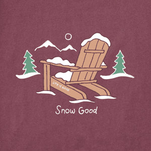 Life is Good Men's Long Sleeve Crusher Tee Snow Good, Mahogany Brown