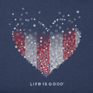 Life is Good. Womens Crusher Vee: Heart Stars and Stripes, Darkest Blue