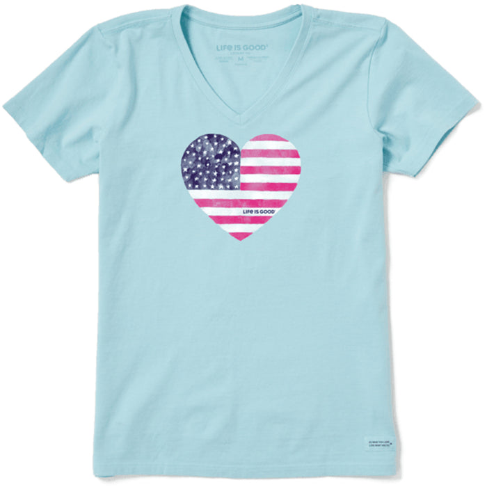 Life is Good. Women's Crusher Vee Watercolor Flag Heart, Beach Blue