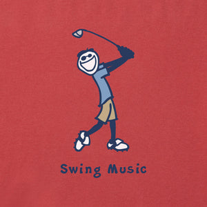 Life is Good Men's Swing Music Vintage Crusher Tee - Faded Red