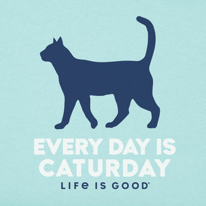 Life is Good Women's Short Sleeve Everyday Is Caturday Crusher Tee - Bermuda Blue