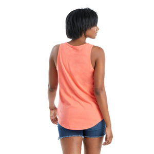 Life Is Good. Women's High-Low Crusher Tank Flower Whale, Mango Orange