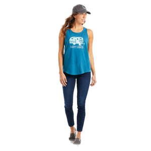 Life Is Good. Women's High-Low Crusher Tank Floral Happy Camper, Persian Blue