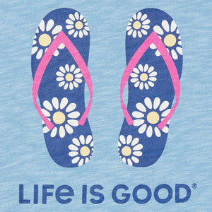 Life is Good. Women's Textured Slub Tank Daisy Flip Flops, Powder Blue