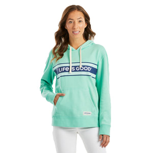 Life is Good Women's Simply True Hoodie LIG Seam Stripes, Spearmint Green
