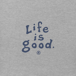 Life Is Good. Mens Vintage Crusher Tee LIG Vintage Wordmark, Heather Gray