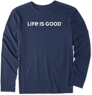 Life Is Good. Mens Crusher Tee Long Sleeve LIG Wordmark Horizontal, Darkest Blue