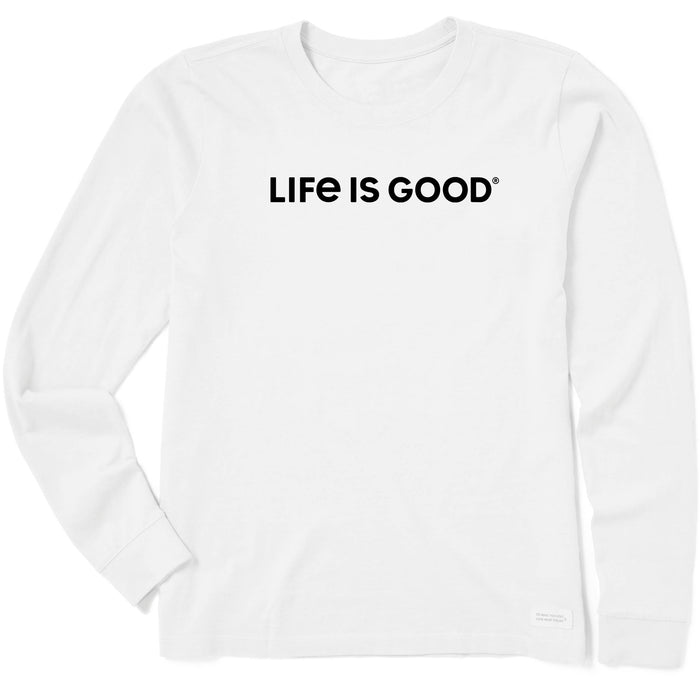 Life Is Good. Womens Crusher Tee Long Sleeve LIG Wordmark Horizontal, Cloud White