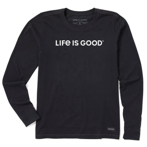 Life Is Good. Womens Crusher Tee Long Sleeve LIG Wordmark Horizontal, Jet Black