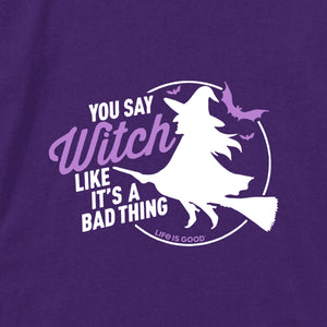 Life is Good Women's Long Sleeve Crusher Tee Bad Thing Witch, Deep Purple
