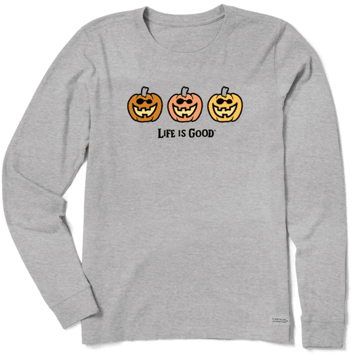Life is Good Women's Vintage Crusher Long Sleeve Pumpkin Trio, Heather Gray