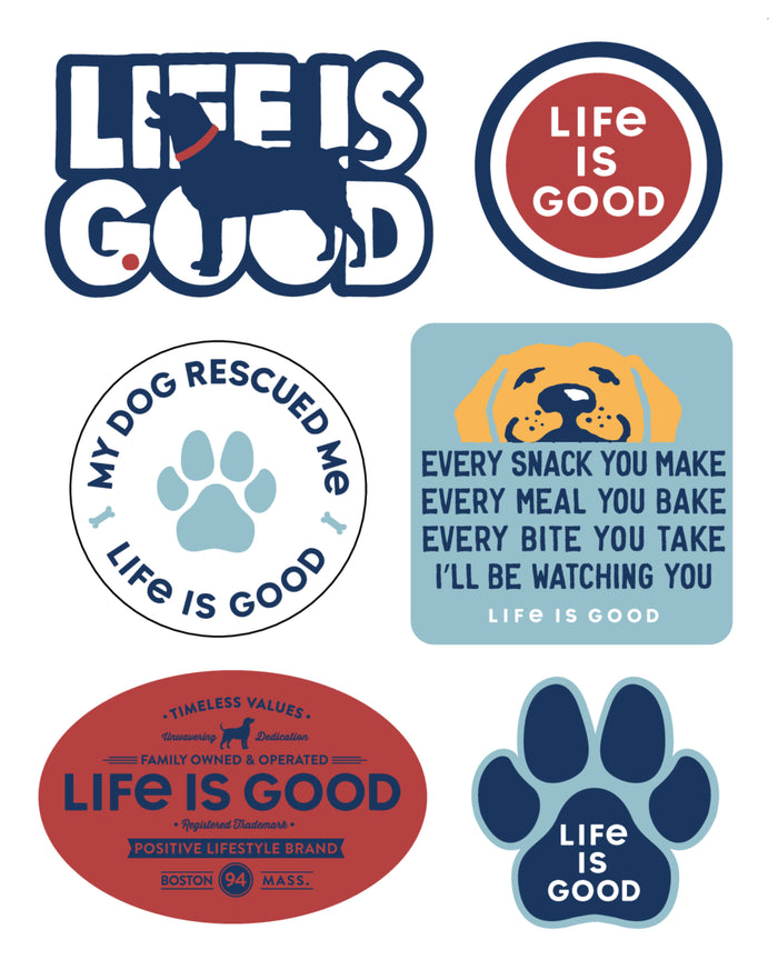 Life is Good. Six-Pack Stickers: Dog Pack