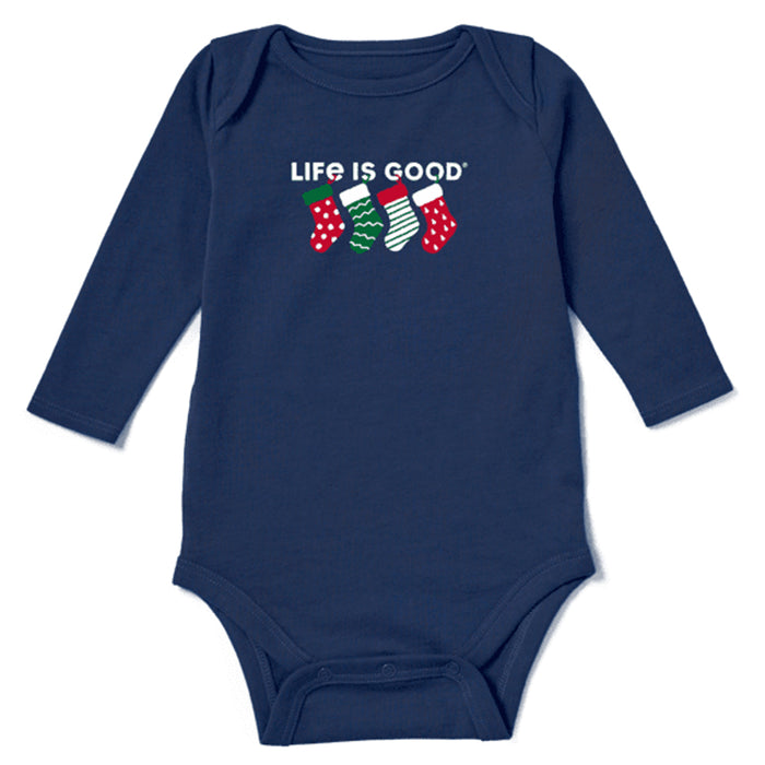 Life is Good Baby Crusher Bodysuit Family Stockings, Darkest Blue