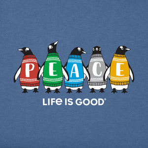 Life is Good Kids Long Sleeve Crusher Peace-guins, Vintage Blue